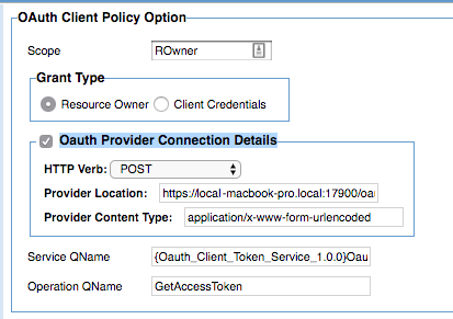 Using the OAuth Client Policy