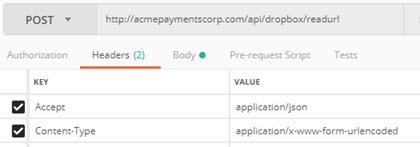 Read URL | Dropbox Service | Akana API Platform API